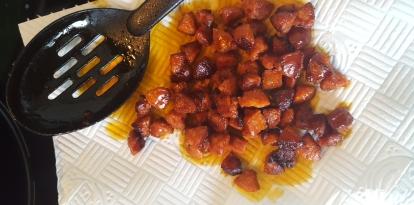 Kitchen towel absorbing chorizo oil